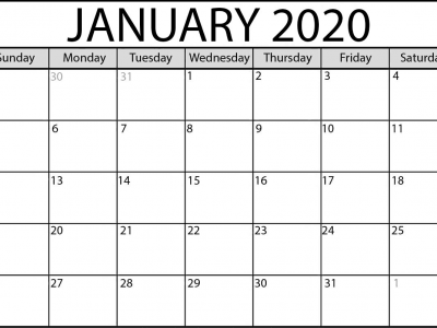january 2020 calender